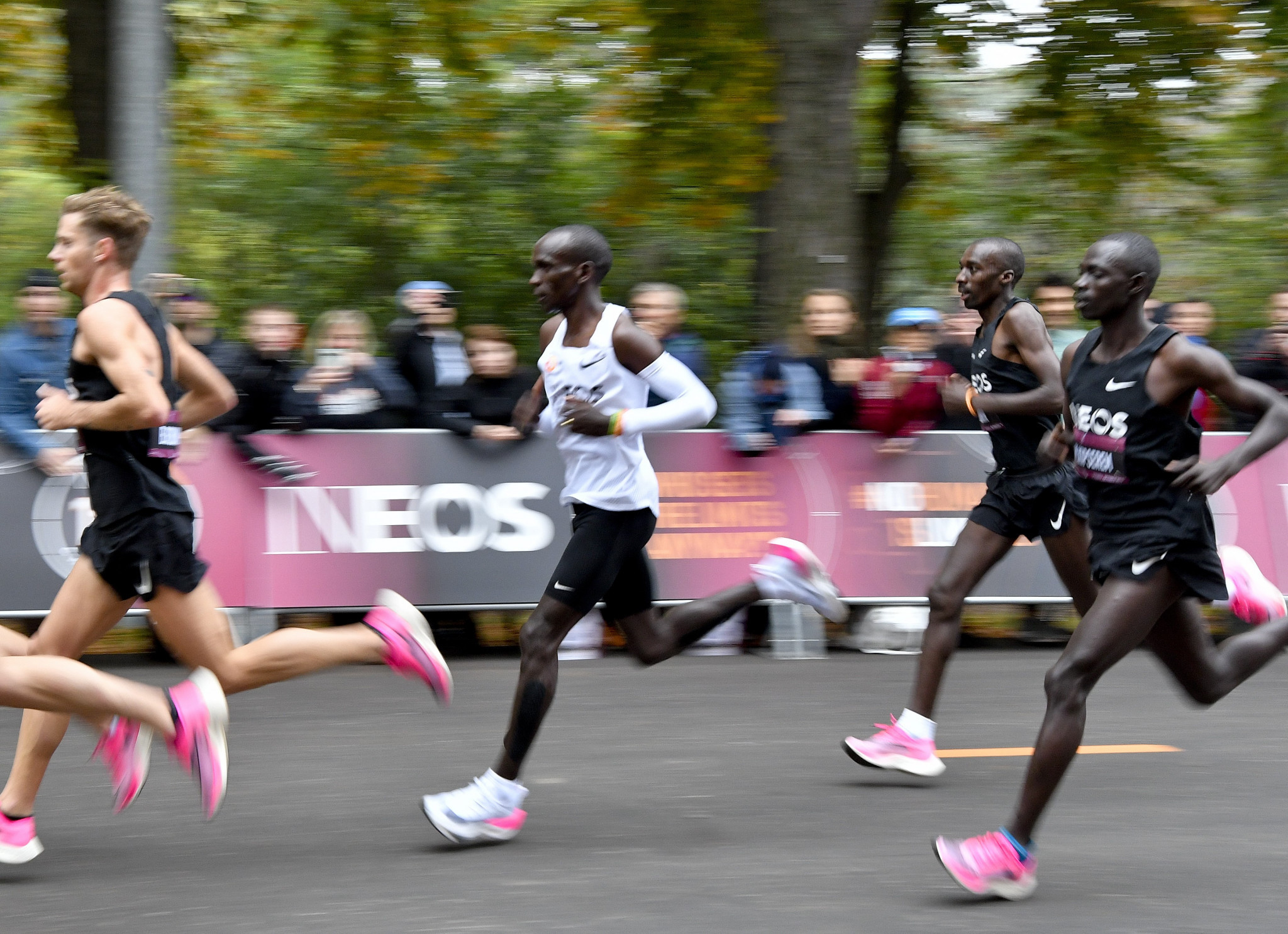 There was controversy over the shoes used by Kenya's Eliud Kipchoge when he became the first person to run a marathon in under two hours in Vienna last October ©Getty Images