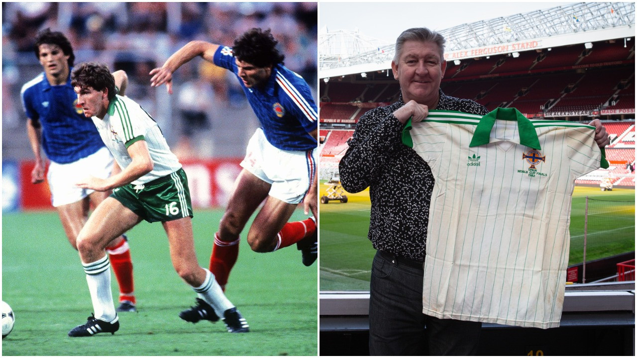 The shirt Norman Whiteside wore when he made history by becoming the youngest player to take part in the FIFA World Cup at Spain in 1982 sold for £18,000 ©Getty Images and Ewbank's Auctions