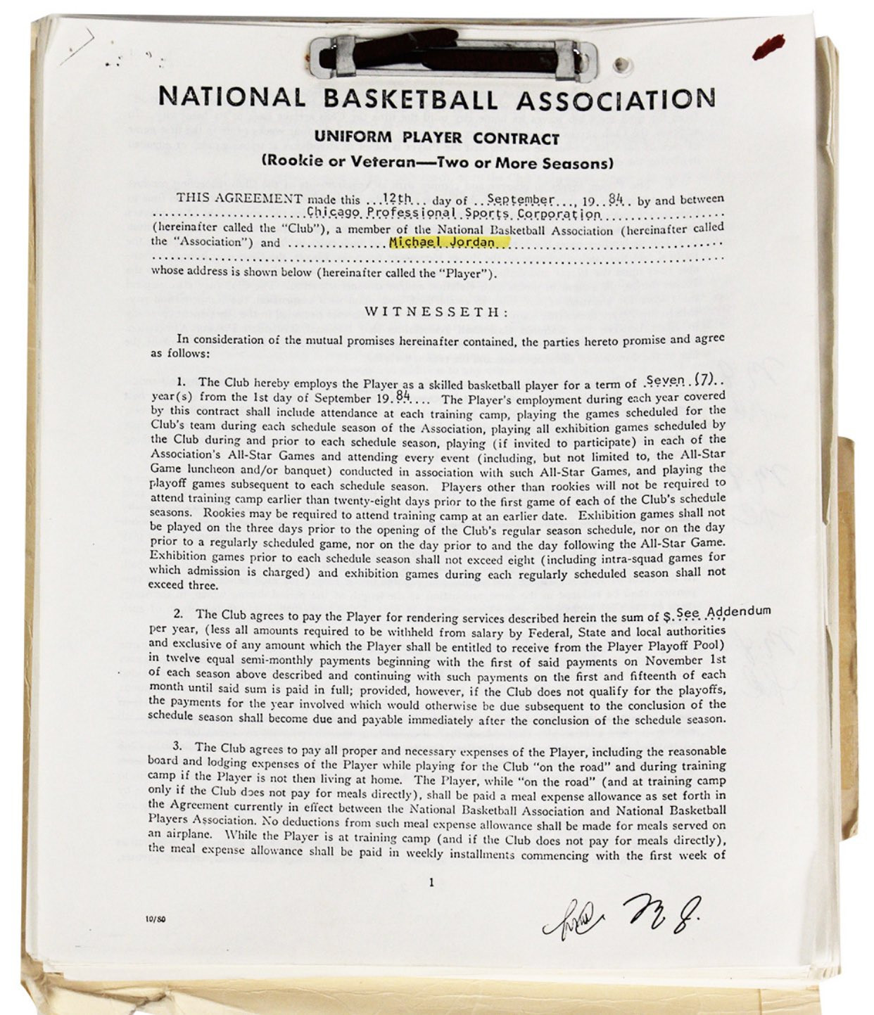 A photocopy of Michael Jordan's first NBA contract with the Chicago Bulls has sold for more than $50,000 at an auction organised by GottaHaveRockandRoll.com ©GottaHaveRockandRoll.com