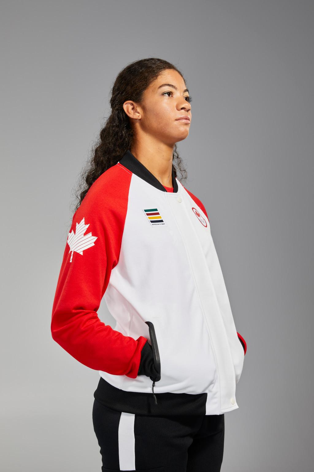 Sarah Douglas sporting the podium uniform for Team Canada ©Team Canada