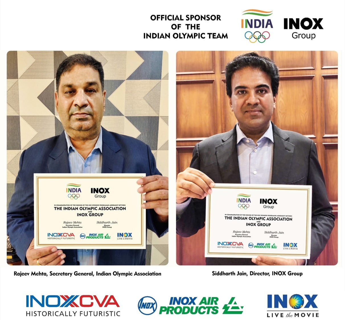INOX Group named official sponsor of Indian Olympic Association for Tokyo 2020