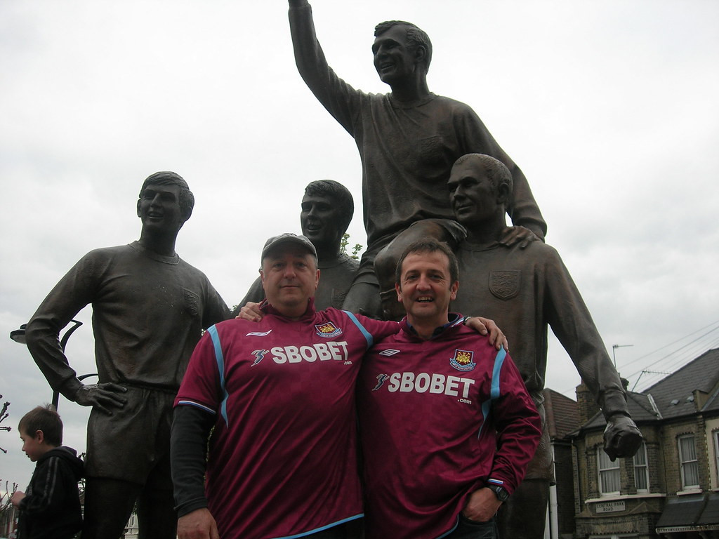 The Champions' statue, celebrating the role of Sir Bobby Moore, Sir Geoff Hurst and Martin Peters in England's famous World Cup victory in 1966, was built at West Ham United's old ground and will remain there ©Flickr