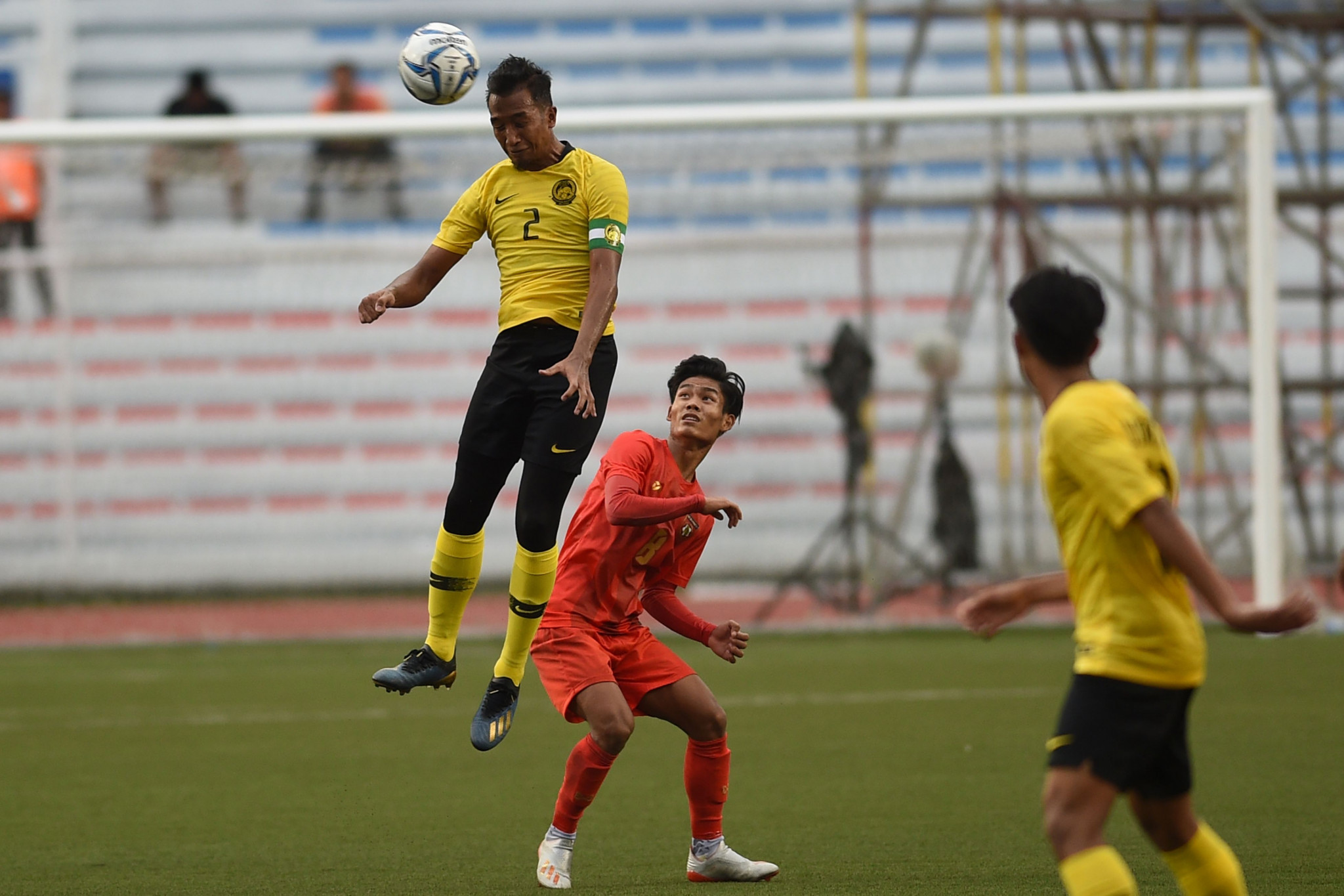 Malaysia's Adam Nor wins a header during last year's SEA Games ©Getty Images