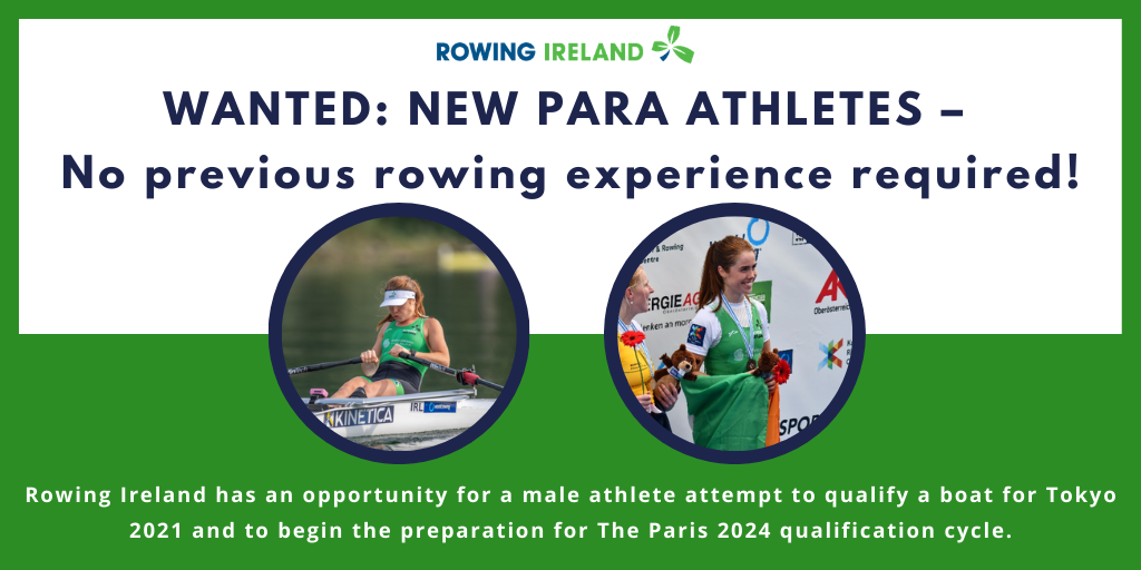 Rowing Ireland is seeking a male rower to help qualify a boat for Tokyo 2020 ©Rowing Ireland
