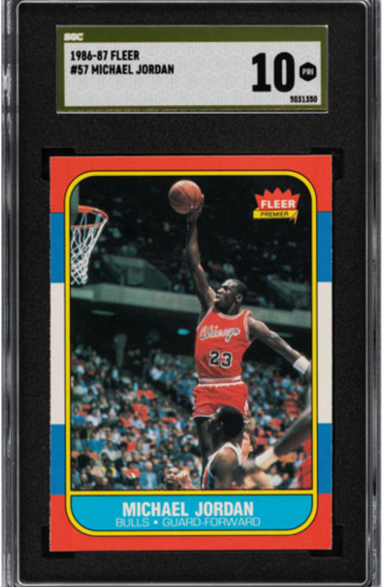 On August 29, Heritage Auctions in Dallas, Texas sold a single Michael Jordan rookie card, estimated at $100,000, for a world record $420,000 ©Getty Images