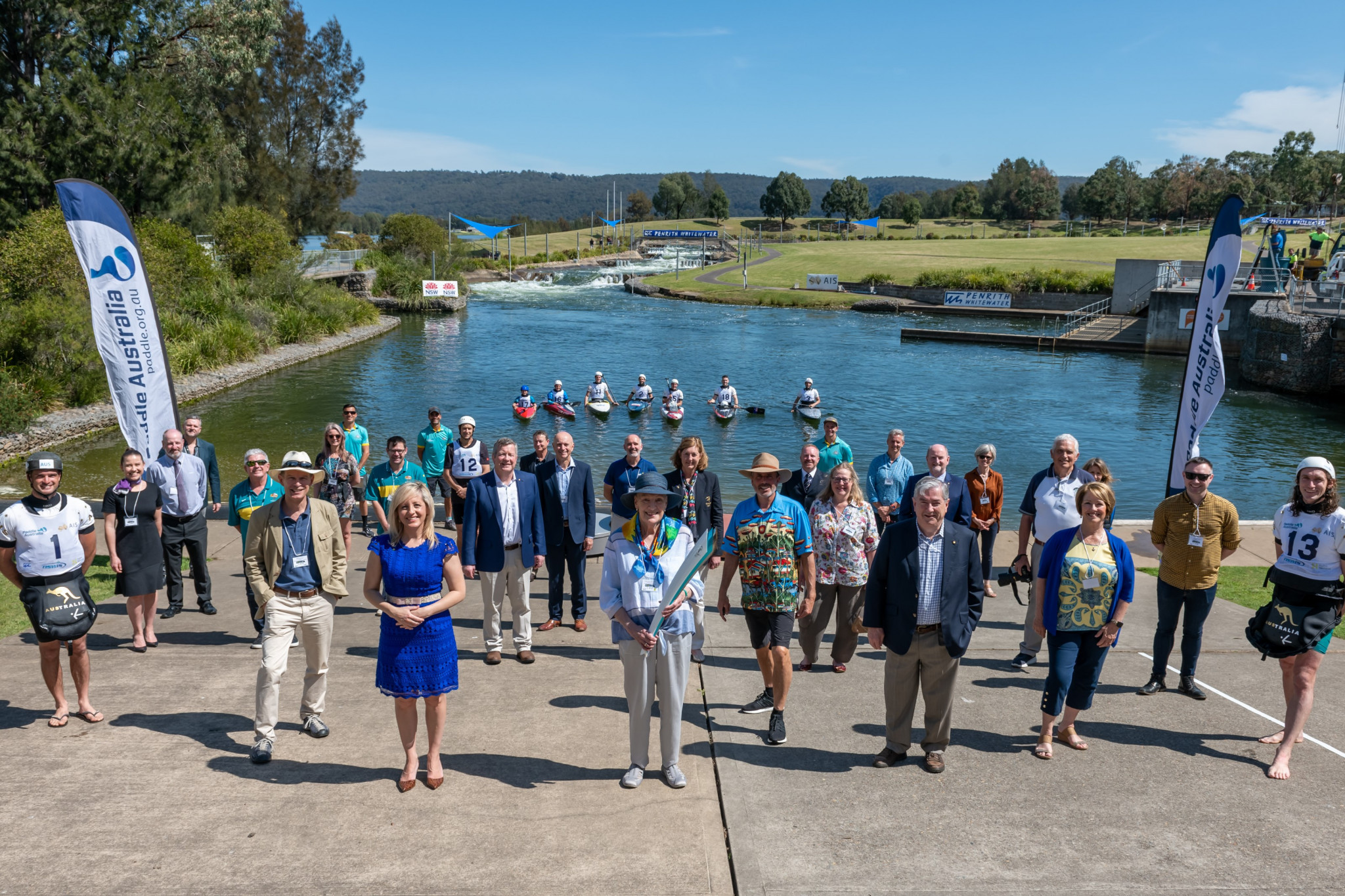 Canoeists attended an event to mark the Sydney 2000 anniversary at Penrith Whitewater Stadium ©Paddle Australia