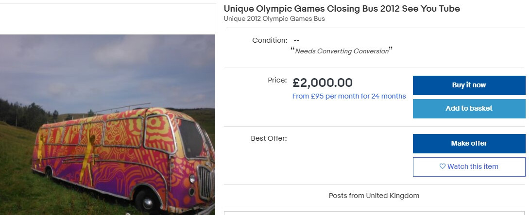 The psychedelic bus needs a lot of work doing to it before it can be used again ©eBay