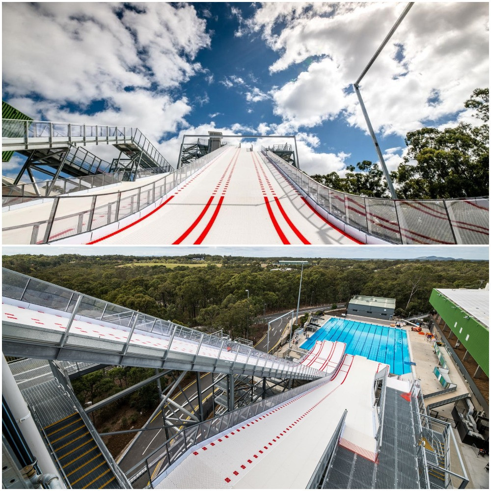 The Flying Kangaroos aerial ski team tried out the new 37-metre high ramp this week ©AOC