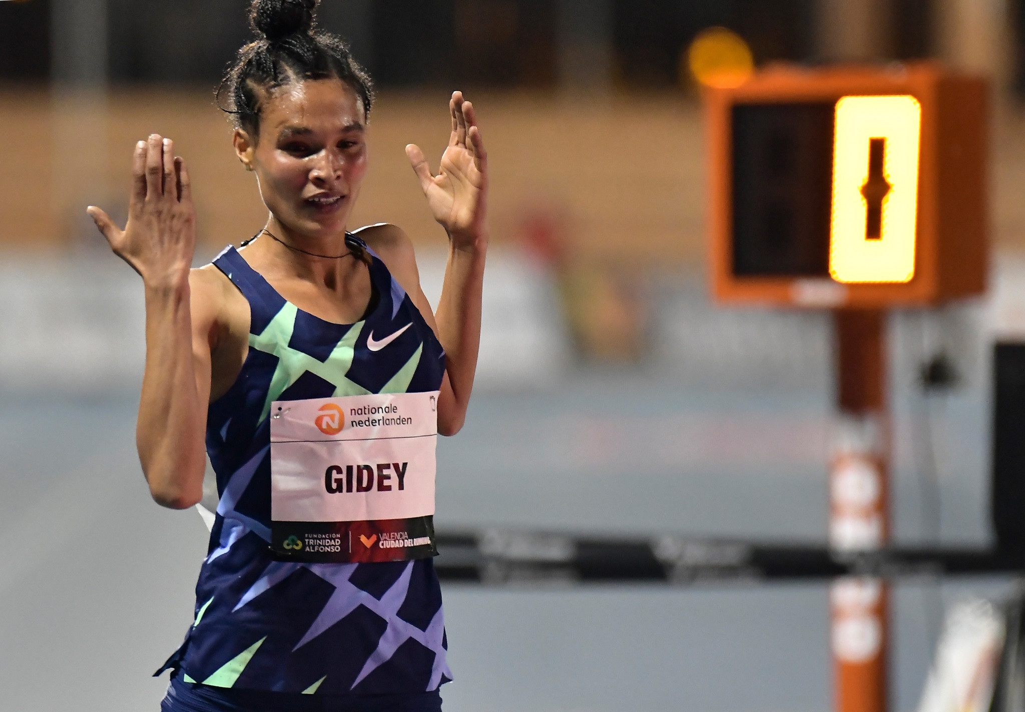 Ethiopia's Letesenbet Gidey took almost five seconds off the women's 5,000 metres world record ©Getty Images