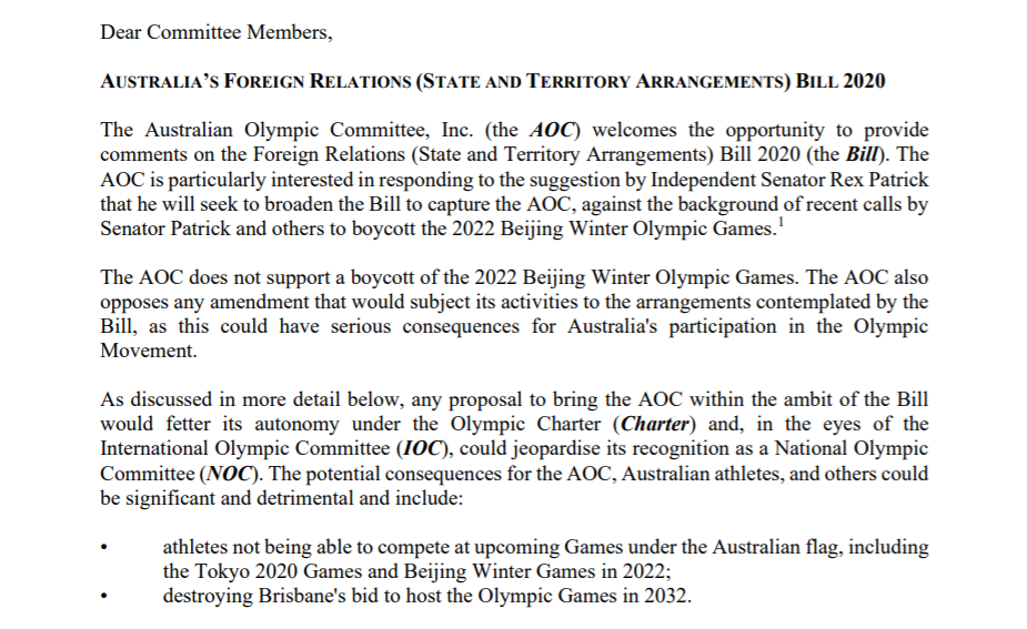 AOC President John Coates wrote to the Senate Foreign Affairs, Defence and Trade Committee regarding the proposed amendment ©AOC