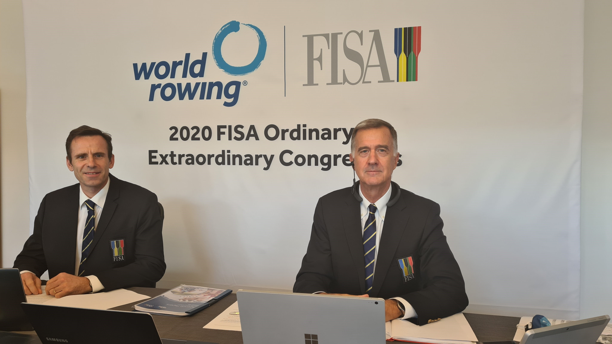 President Jean-Christophe Rolland, left, and executive director Matt Smith at World Rowing's virtual Extraordinary Congress ©World Rowing