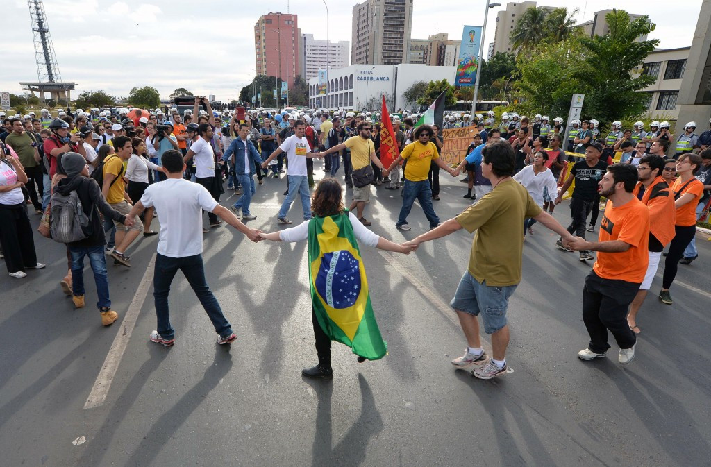 Brazilian organisers are keen to avoid a repeat of the protests which overshadowed the build-up to the 2013 Confederations Cup ©Getty Images