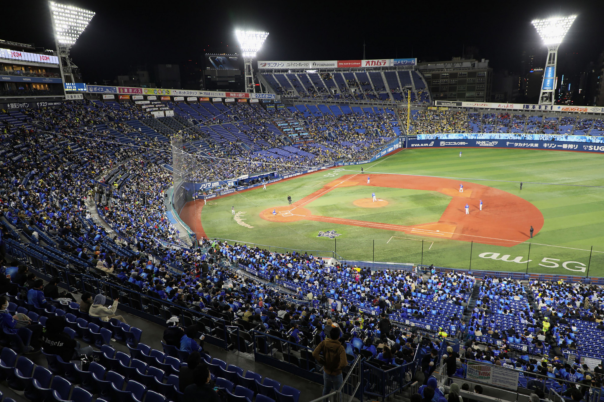 Yokohama Stadium was 80 per cent full for yesterday's match between Yokohama DeNA BayStars and Hanshin Tigers ©Getty Images