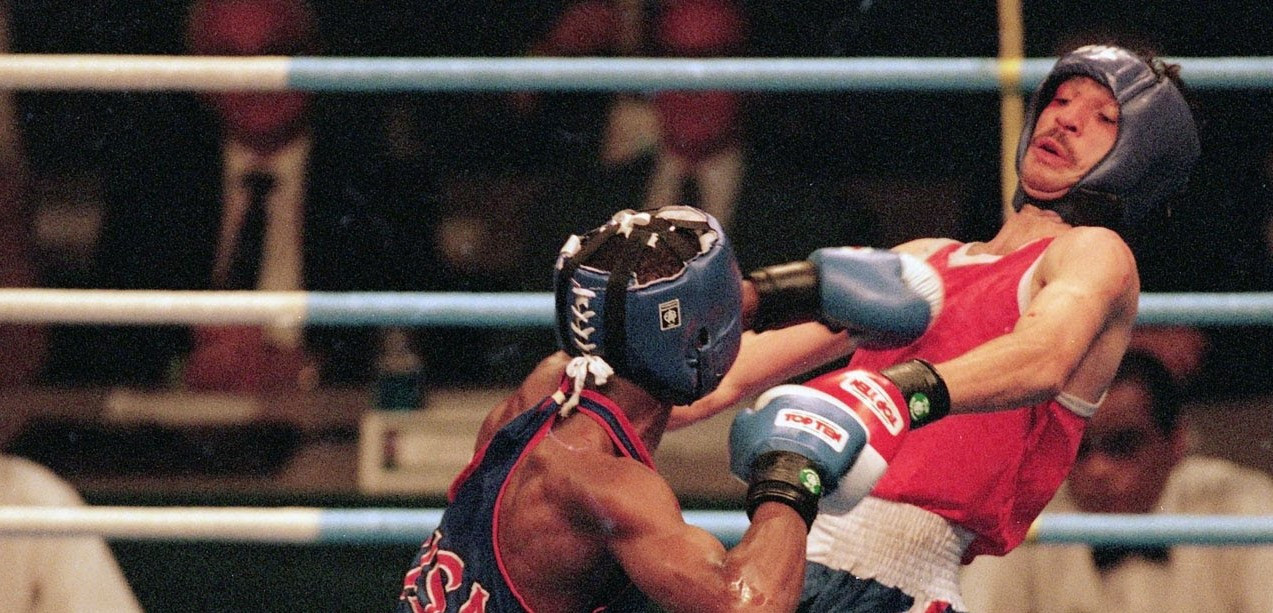 Floyd Mayweather was controversially knocked out of the Olympic tournament at Atlanta 1996 in the semi-final, despite most observers believing he had beaten Bulgaria's Serafim Todorov ©YouTube