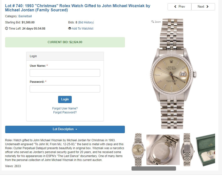 A Rolex watch Michael Jordan gave as a Christmas present to his former security guard is among other items up for sale with Lelands Premier Auction ©Lelands Premier Auction