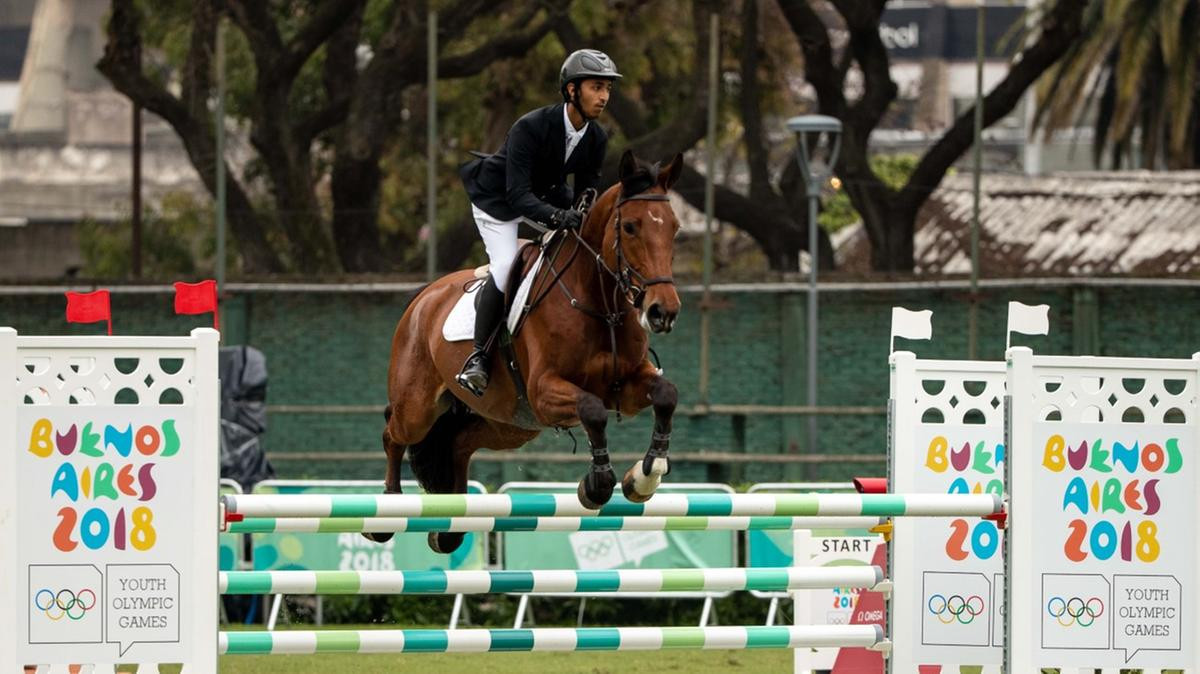 Show jumper Omar Al Marzooqi won the United Arab Emirates' first medal at the Summer Youth Olympic Games with a silver at Buenos Aires 2018 ©UAE NOC