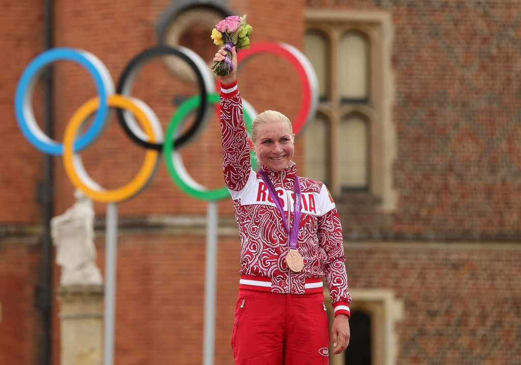 Russia's Olga Zabelinskaya won time trial and road races bronzes at London 2012 ©AFP/Getty Images