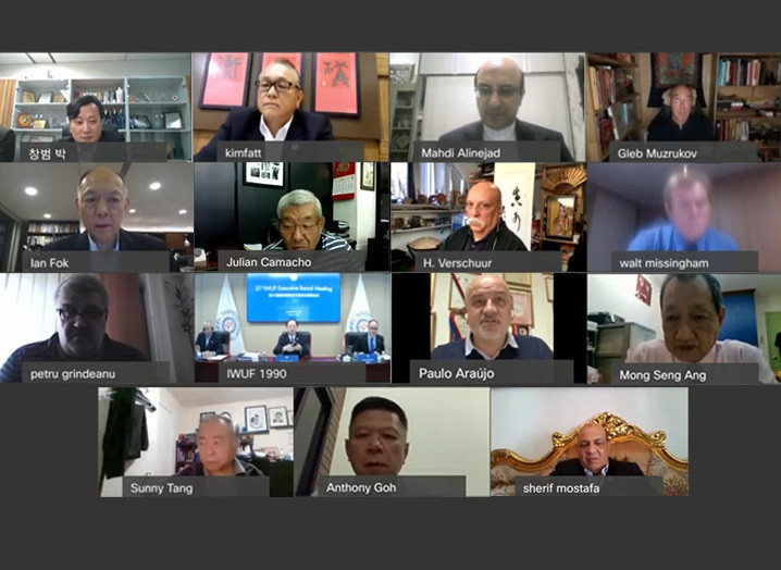 IWUF Executive Board members attended the meeting virtually due to the COVID-19 pandemic ©IWUF