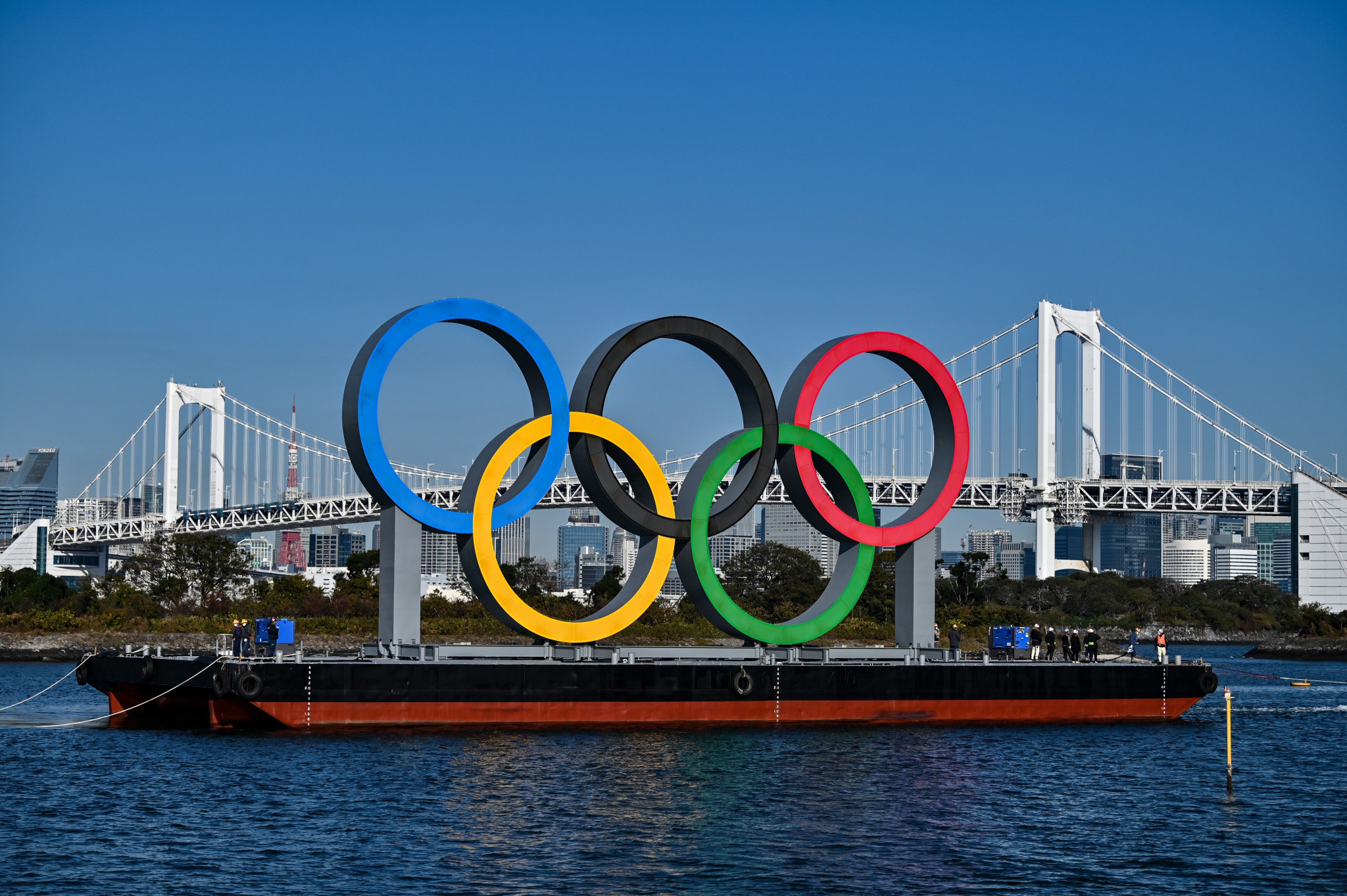 Olympic Rings returned to Tokyo Bay after safety and maintenance checks
