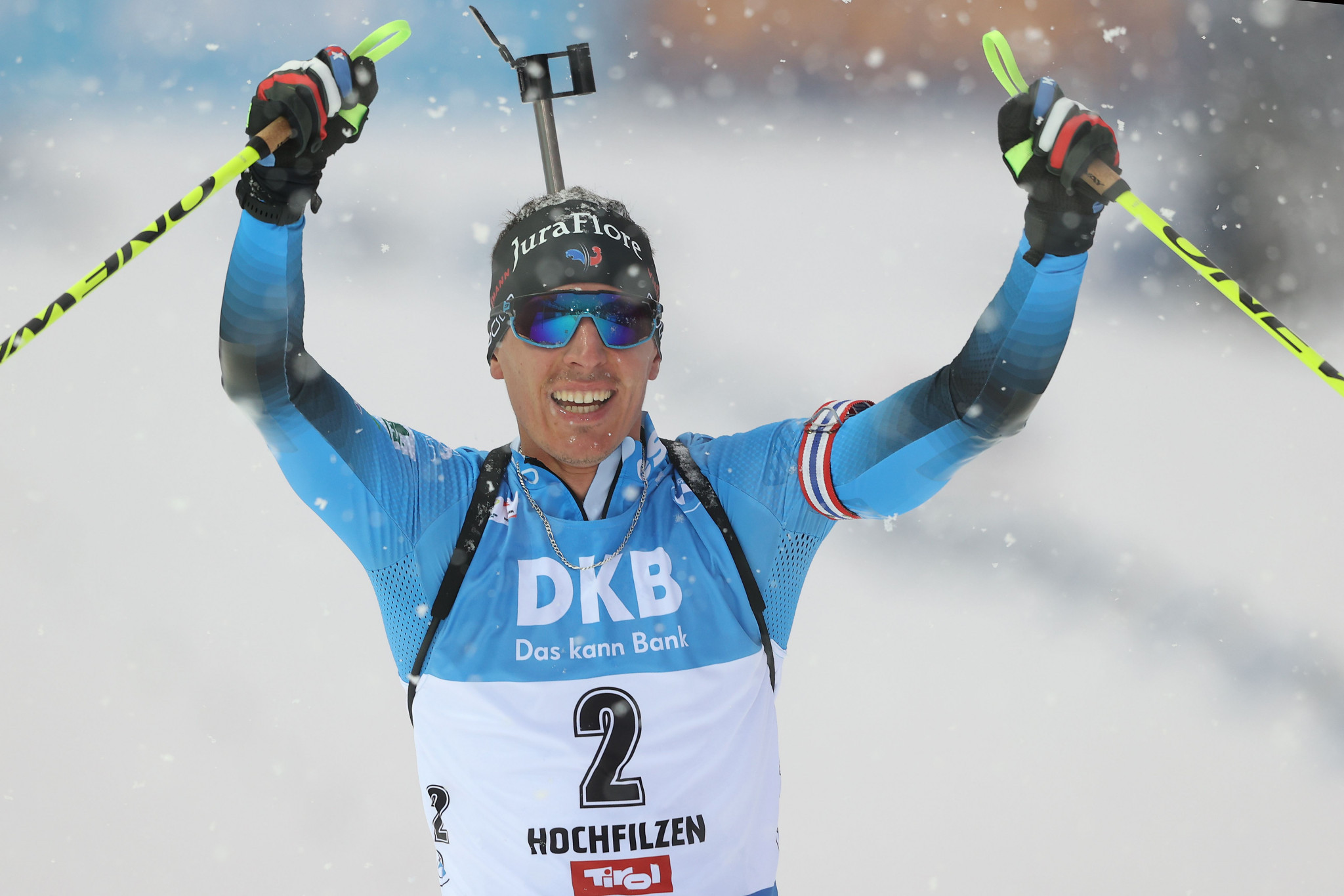 Quentin Fillon Maillet won his fourth World Cup race with a clean shooting record in the men's 12.5km pursuit ©Getty Images