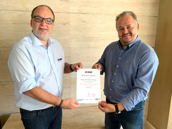 DIBF President Ioannis Stoufis awarded the 2023 World Deaf Basketball Championships to Heraklion ©DIBF