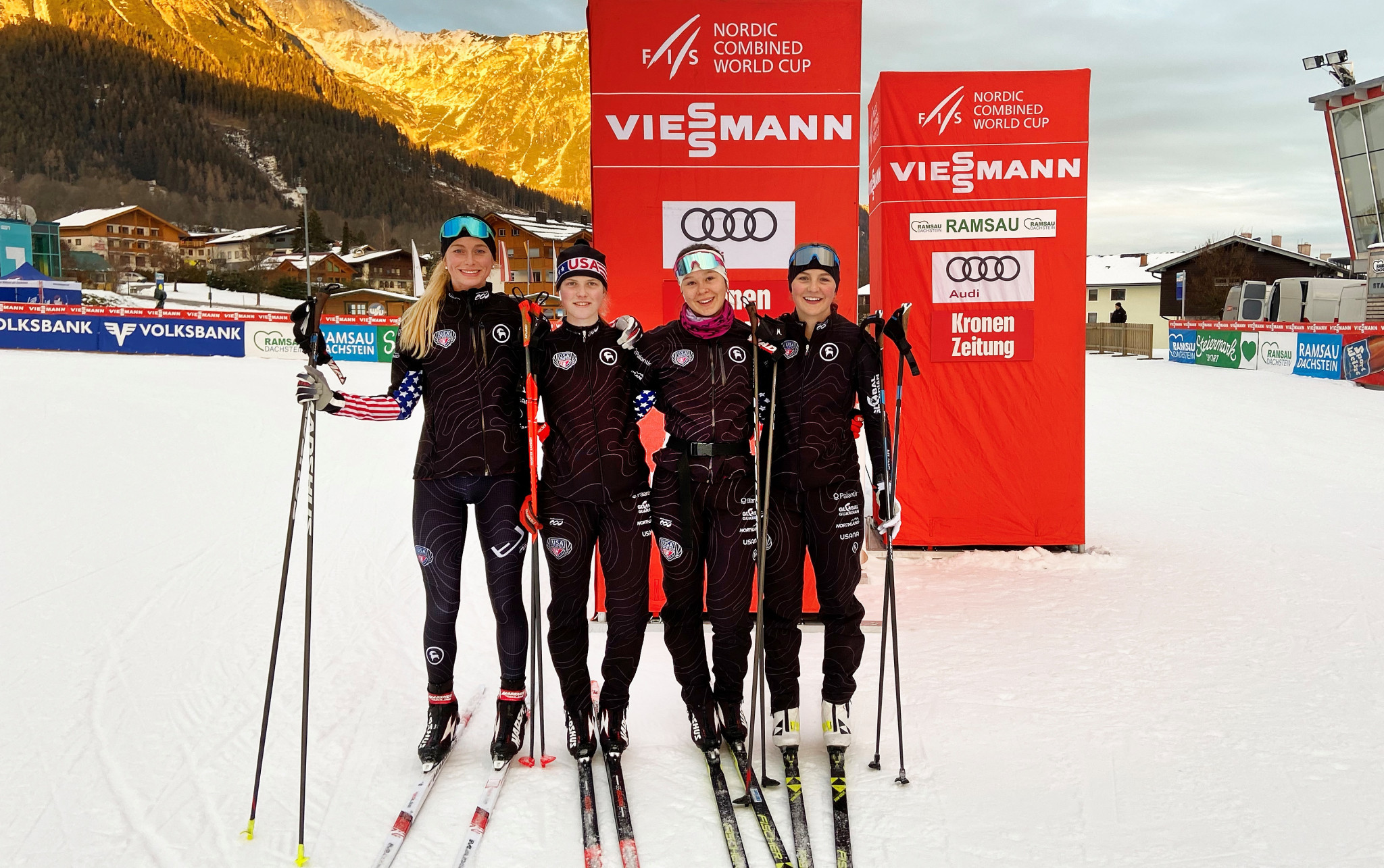 USA Nordic athletes show off their new uniforms made by Podiumwear ©Getty Images