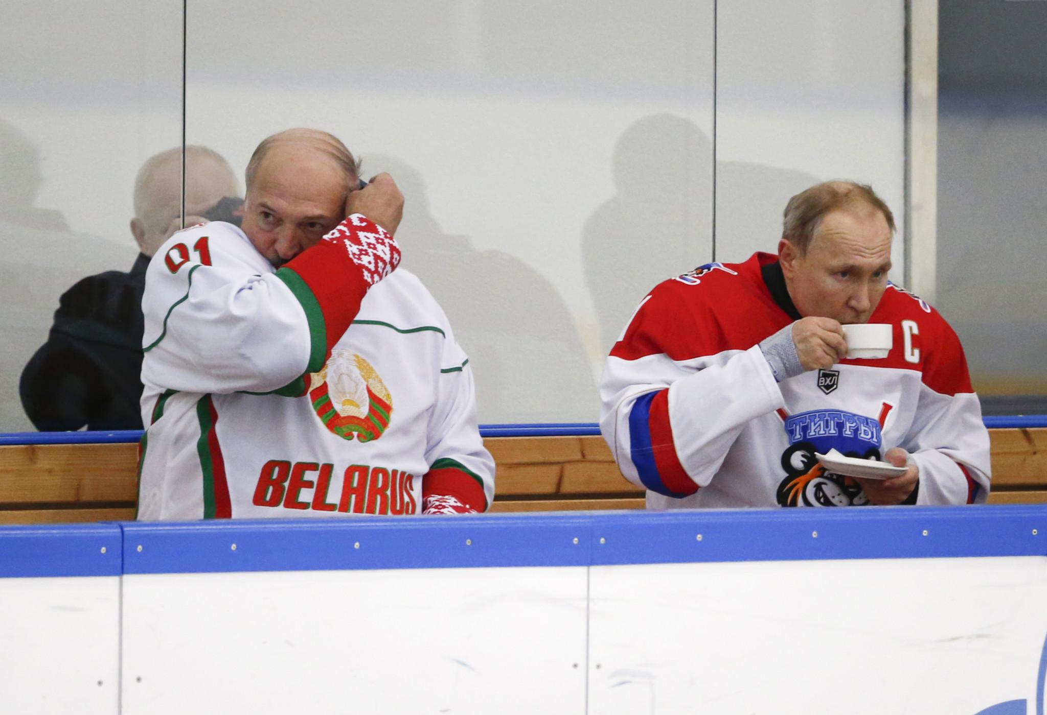 Belarus President Alexander Lukashenko, left, is a keen ice hockey fan ©Getty Images