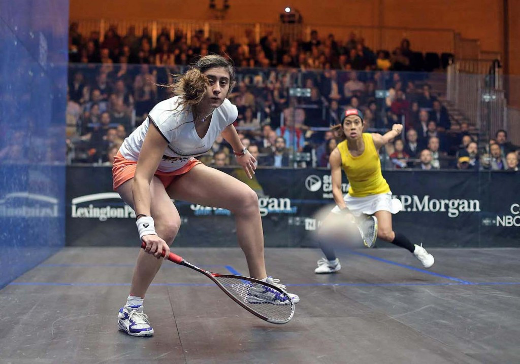 Egypt's Nour El Sherbini ensured her place in the women's final with a 3-0 victory against Malaysia's Nicol David, the 2014 champion