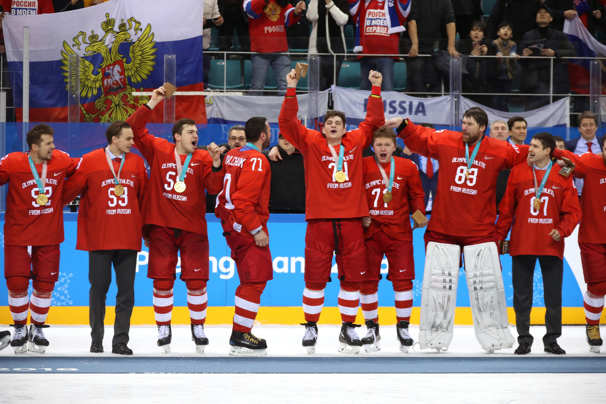 A team representing Olympic Athletes of Russia won gold at Pyeongchang 2018, with the absence of NHL players weakening countries such as the United States and Canada ©Getty Images