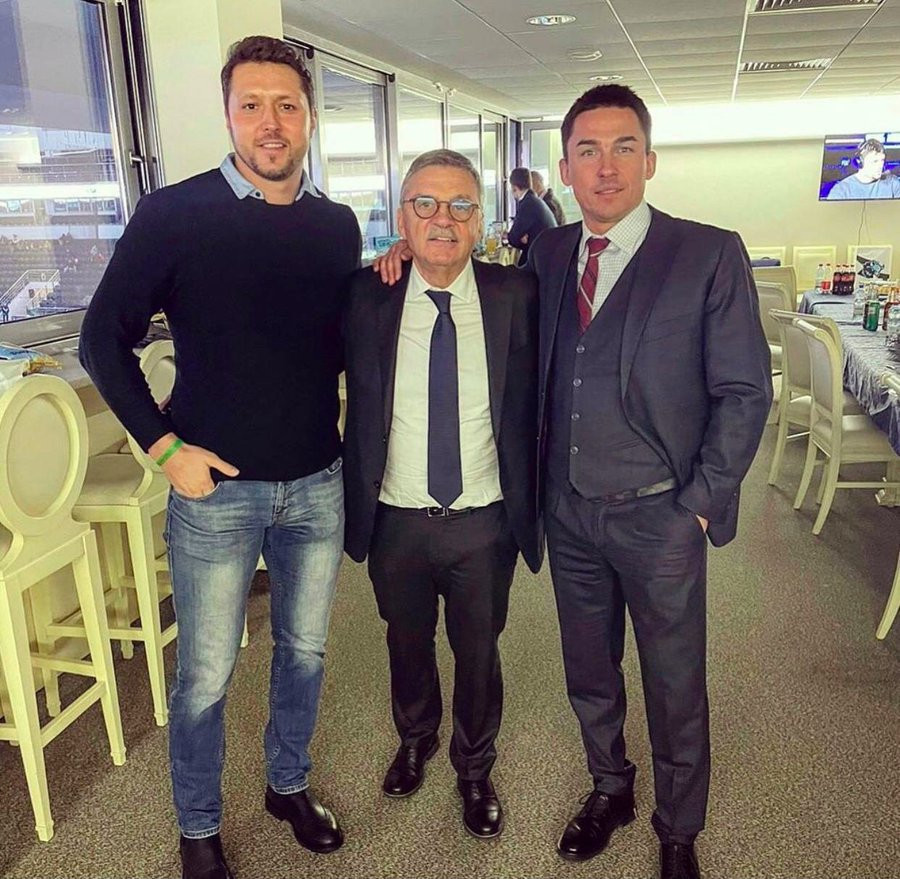 IIHF President René Fasel, centre, was criticised after being pictured earlier this year with Belarusian Ice Hockey Association President Dmitri Baskov, right, who had been accused of murder, during a visit to Minsk ©Twitter/Sviatlana Tsikhanouskaya