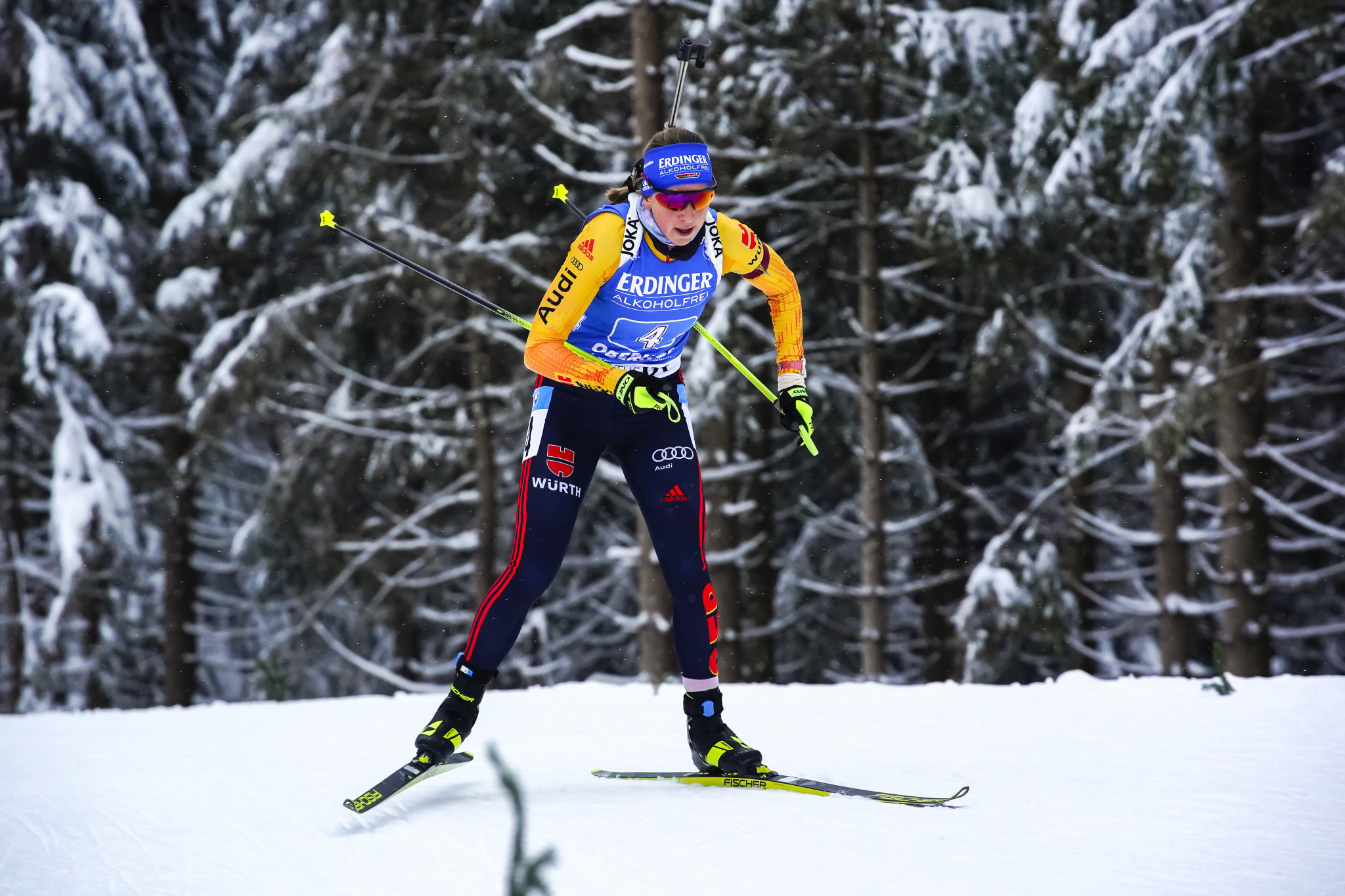 Franziska Preuss produced a strong final leg to secure victory for the German team ©Getty Images