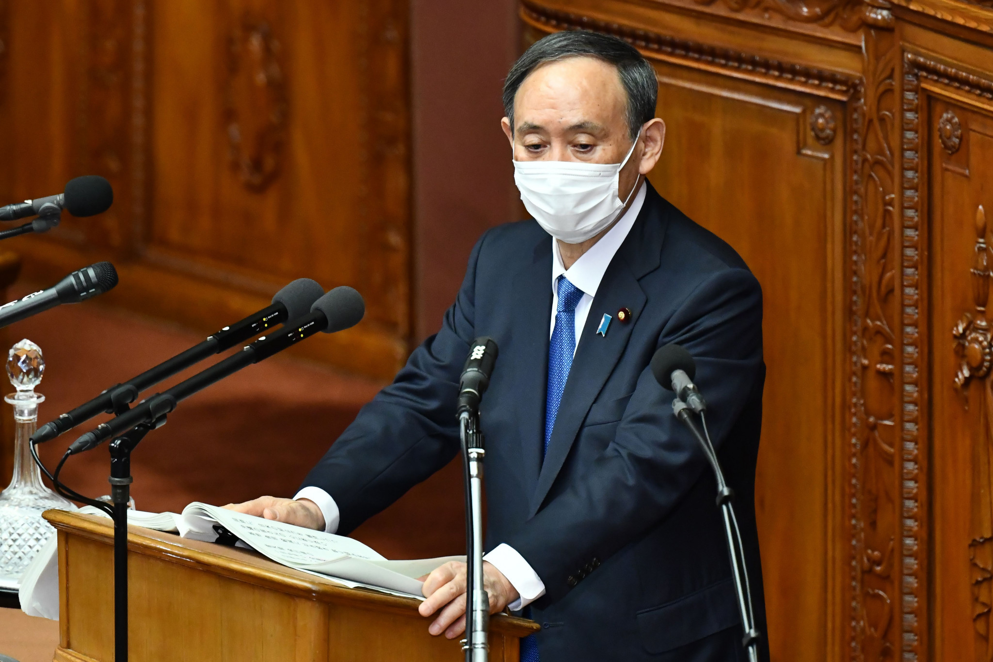 Japanese Prime Minister Yoshihide Suga said the Government will take effective measures to curb the rise in coronavirus cases ©Getty Images
