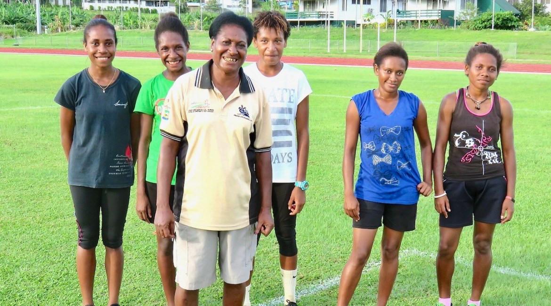 Elanga Buala, front, has died at 56 ©PNG Athletics