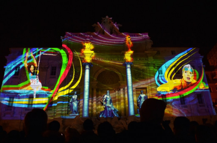 Rome promoted its candidacy for the 2024 Olympic and Paralympic Games last month, projecting images on the 18th century Trevi Fountain