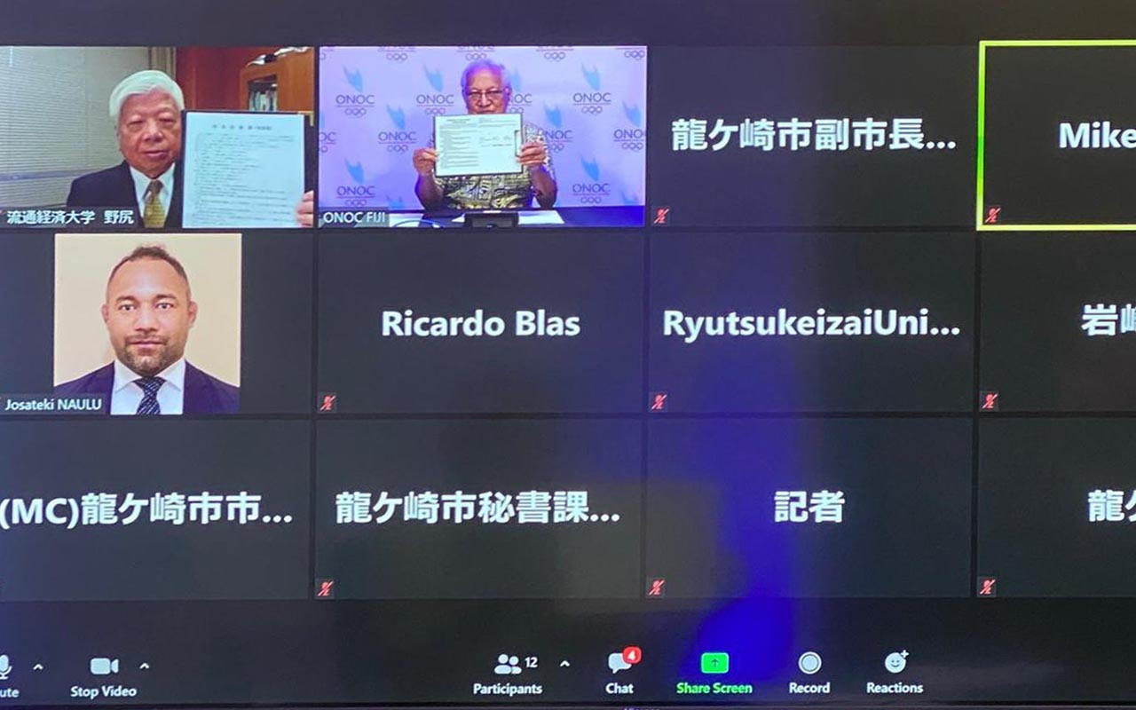 Representatives from Ryugasaki and the Ryutsu Keizai University attended the virtual MoU signing ceremony ©ONOC