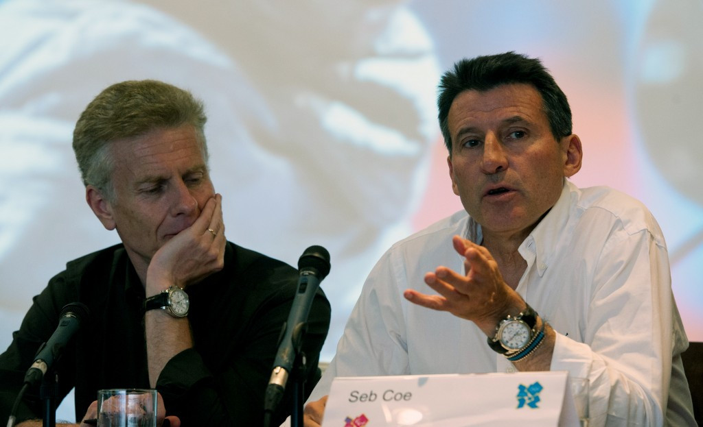 Paul Deighton (left), pictured alongside Sebastian Coe during London 2012, is assisting the IAAF ©Getty Images