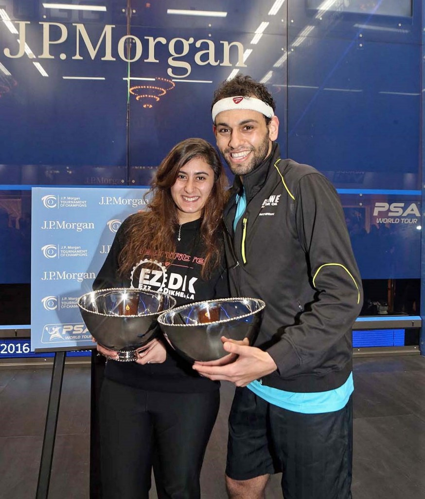 Nour El Sherbini and Mohamed Elshorbagy secured a double triumph for Egypt at the J.P. Morgan Tournament of Champions ©www.squashpics.com