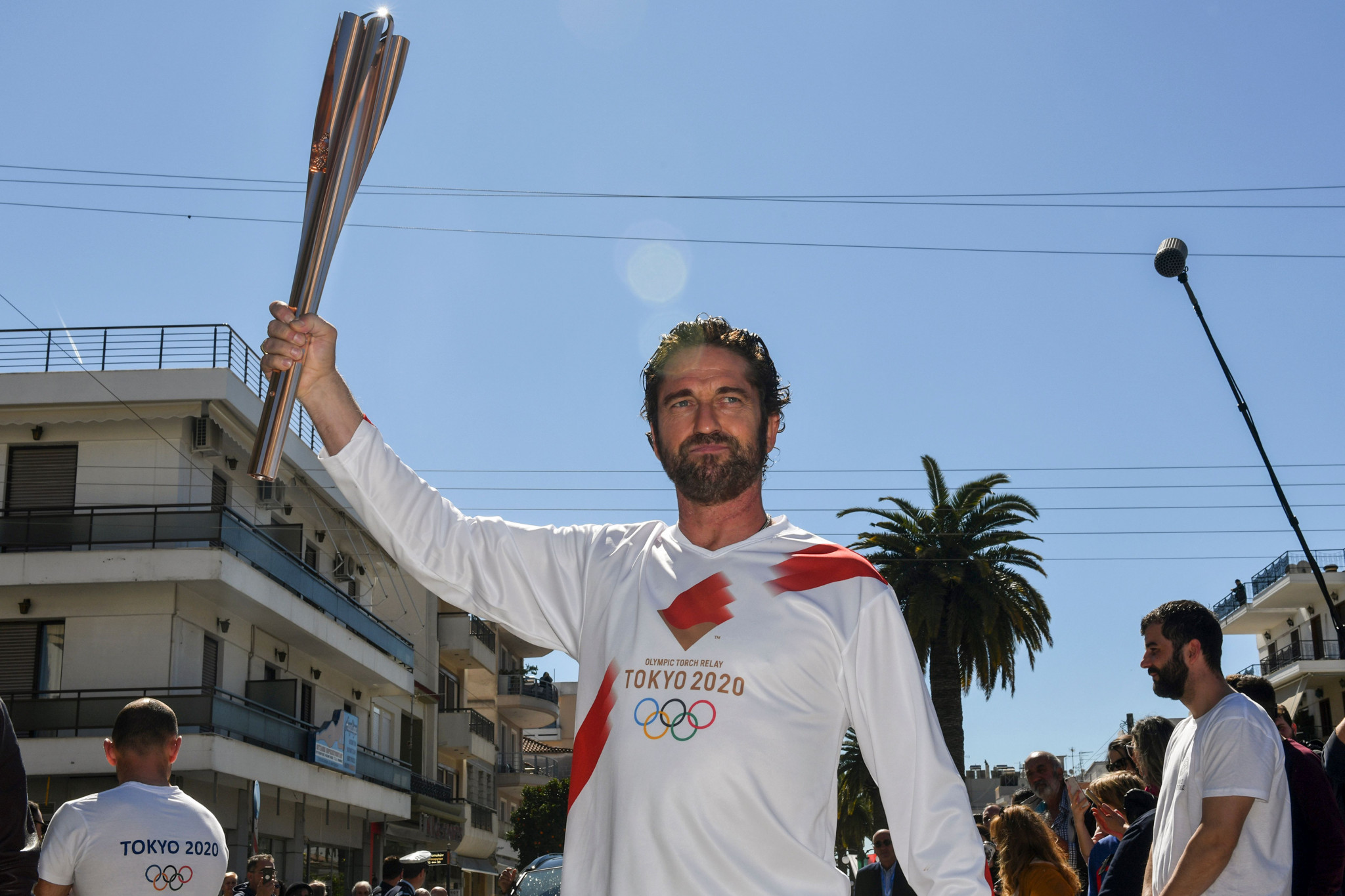 The Tokyo 2020 Torch Relay was suspended on its first full day in March 2020 when crowds gathered in Sparta, Greece, to see actor Gerard Butler carry the Flame ©Getty Images