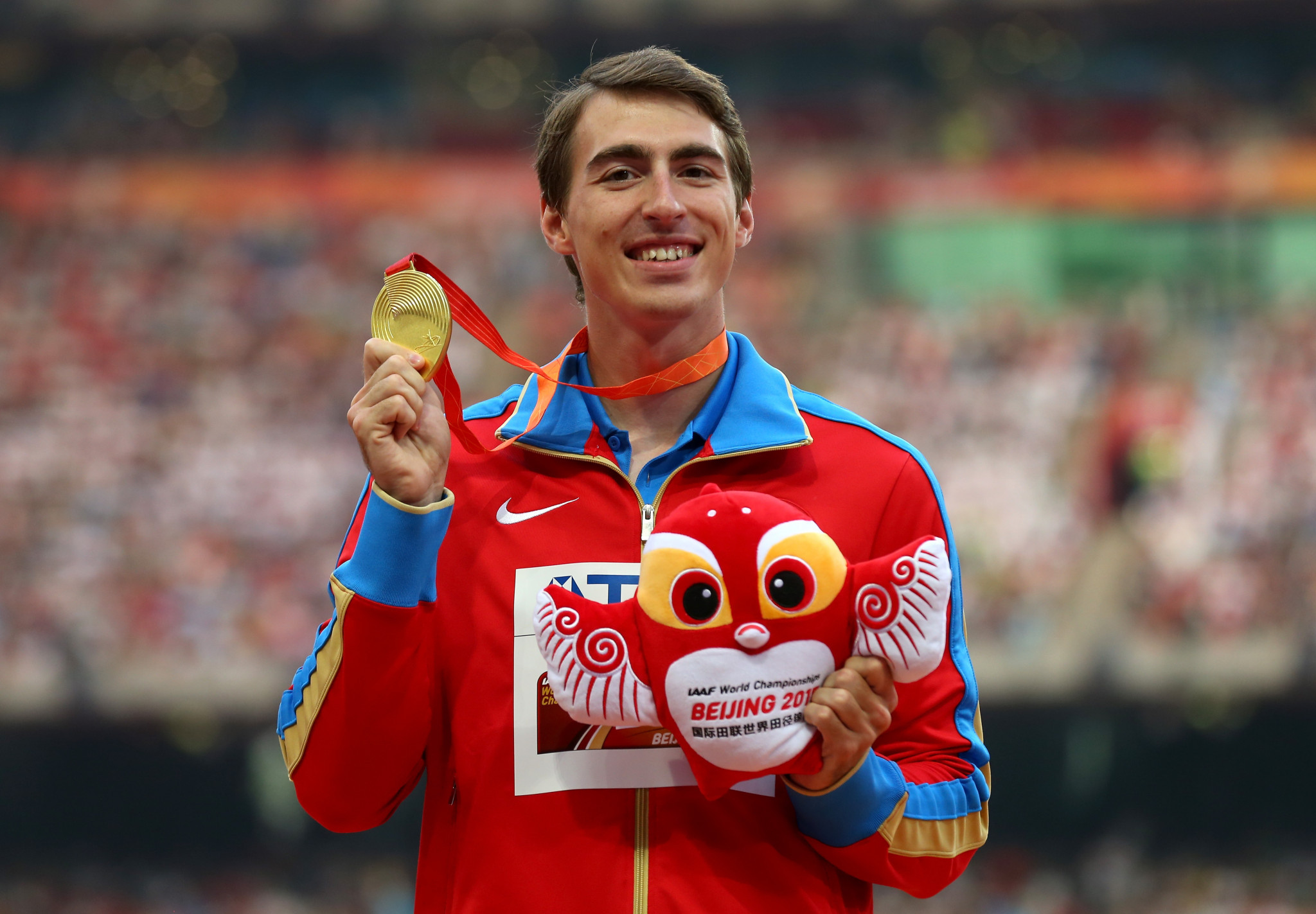 Sergey Shubenkov won the gold medal in the 110m hurdles at the 2015 World Championships in Beijing ©Getty Images