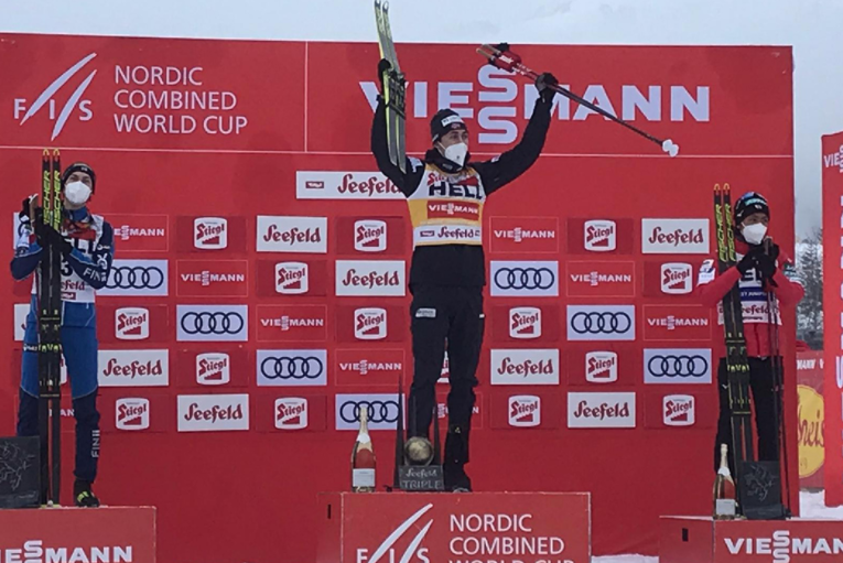 Riiber wins second Seefeld Triple in Nordic Combined World Cup after sprint finish