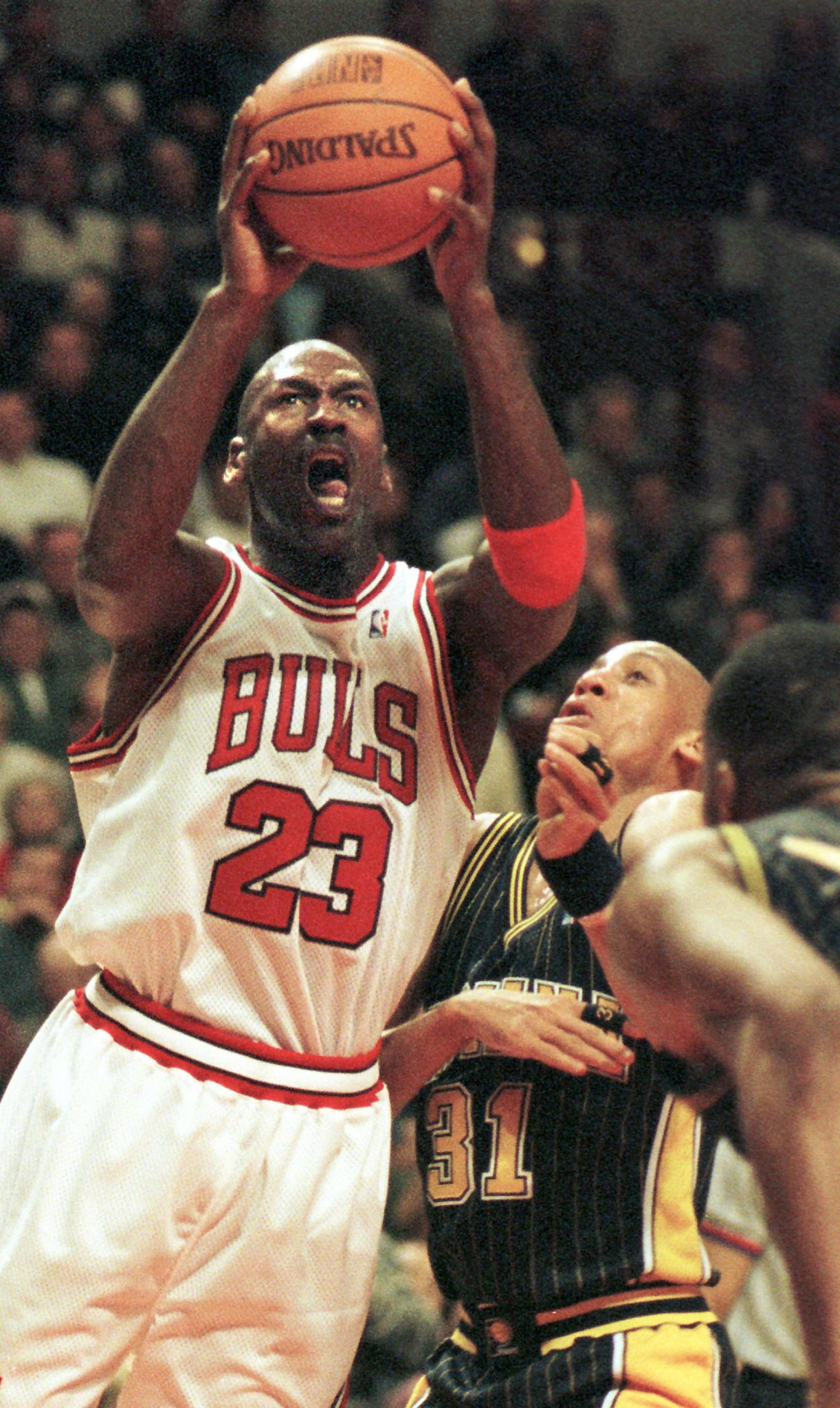 The jersey worn by Michael Jordan in the Chicago Bulls victory over  Indiana Pacers in February 1998 sold at the same auction for $230,401 ©Getty Images