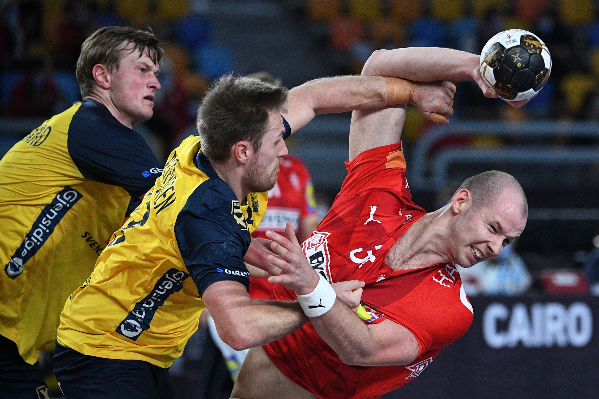 Denmark (in red) won all nine matches that they played at this year's World Men's Handball Championship ©Getty Images