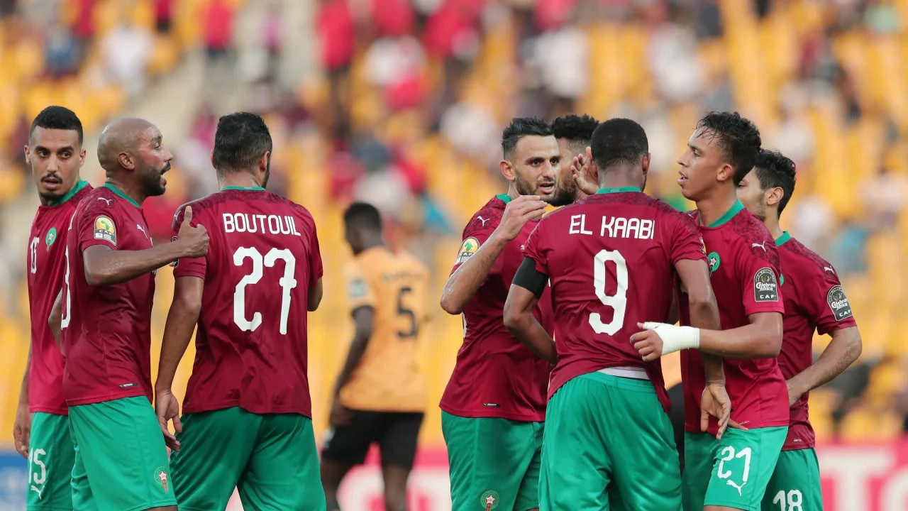Defending champions Morocco celebrate reaching the last four of the African Nations Championship after a 3-1 win over Zambia ©CAF