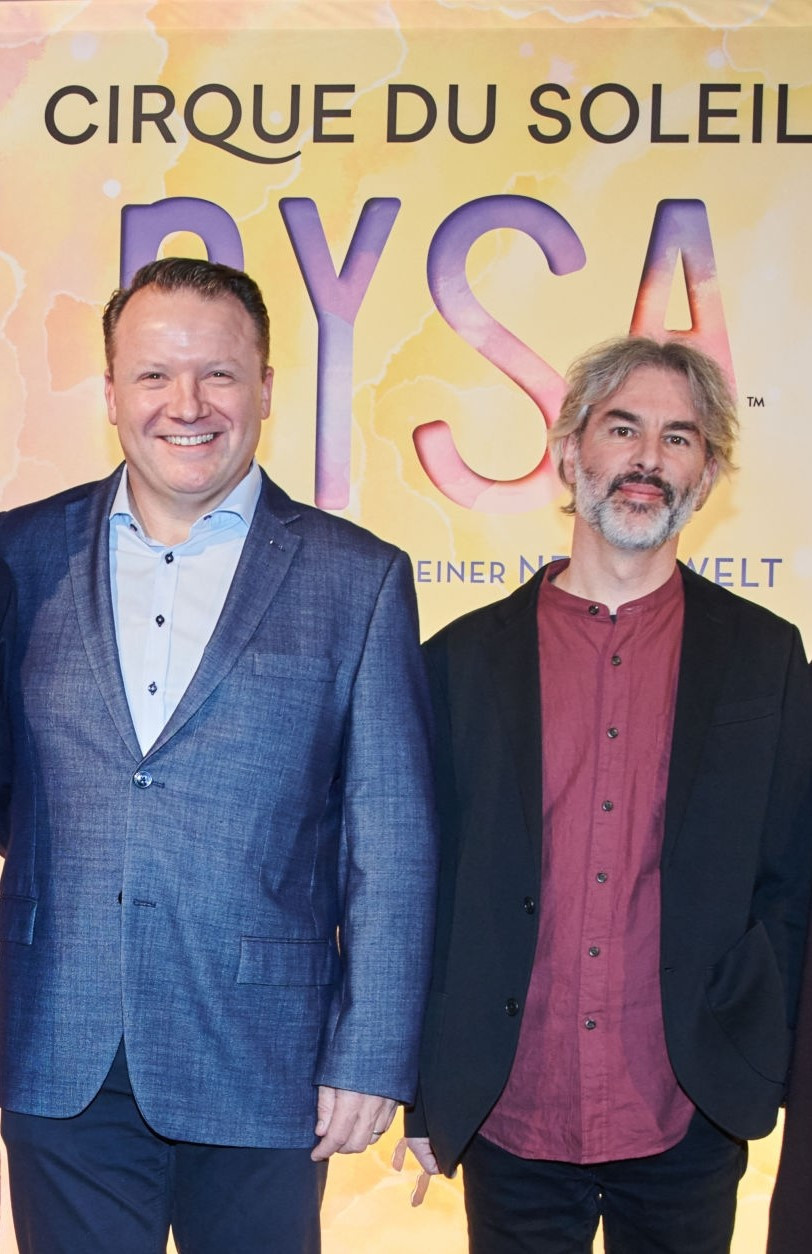 Finn Taylor, left, previously the head of Cirque du Soleil's Global Touring show business, has been appointed as the chief executive of Volleyball World ©Getty Images