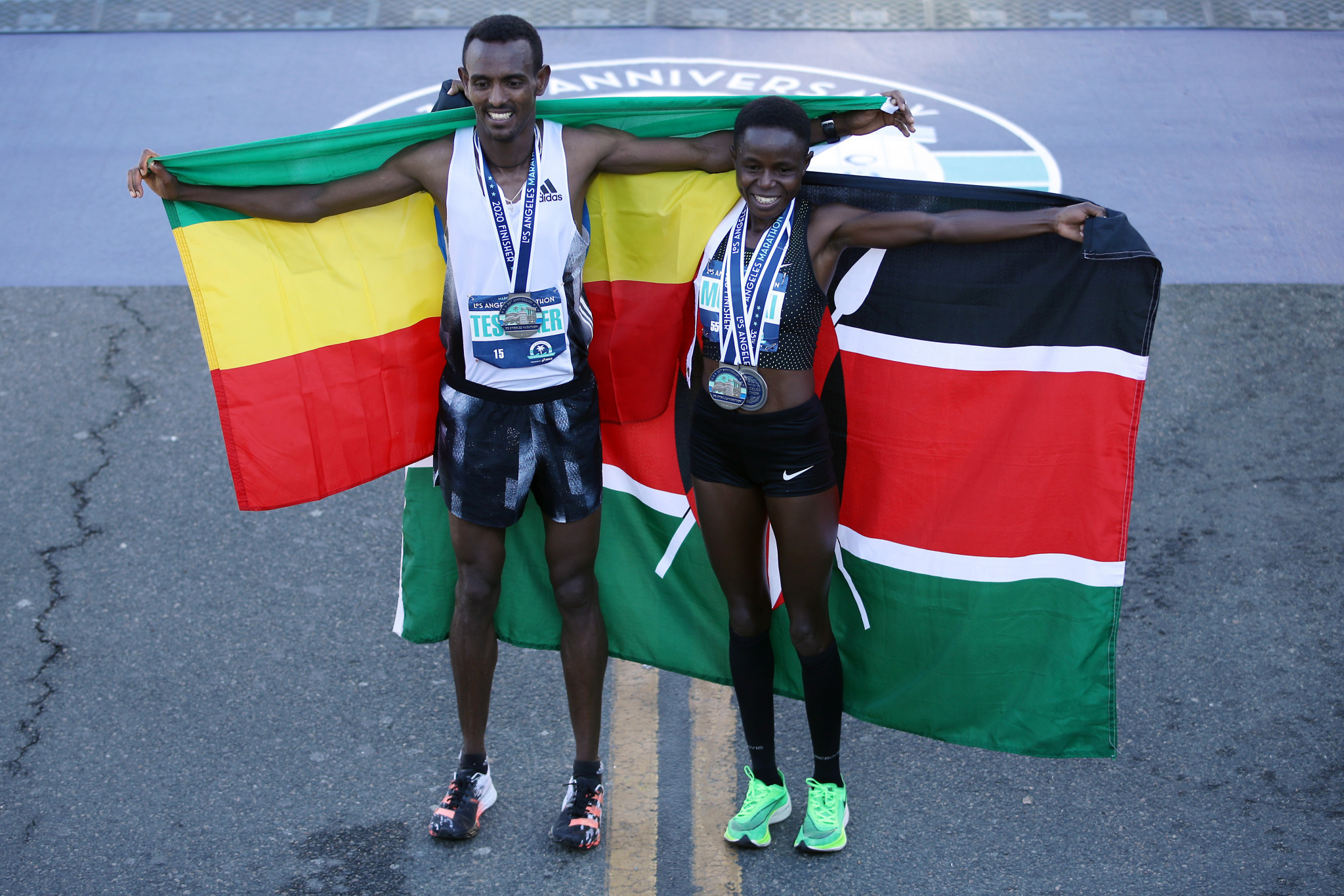 Bayelign Teshager and Margaret Muriuki were the winners of last year's Los Angeles Marathon which was held at the start of the coronavirus pandemic ©Getty Images