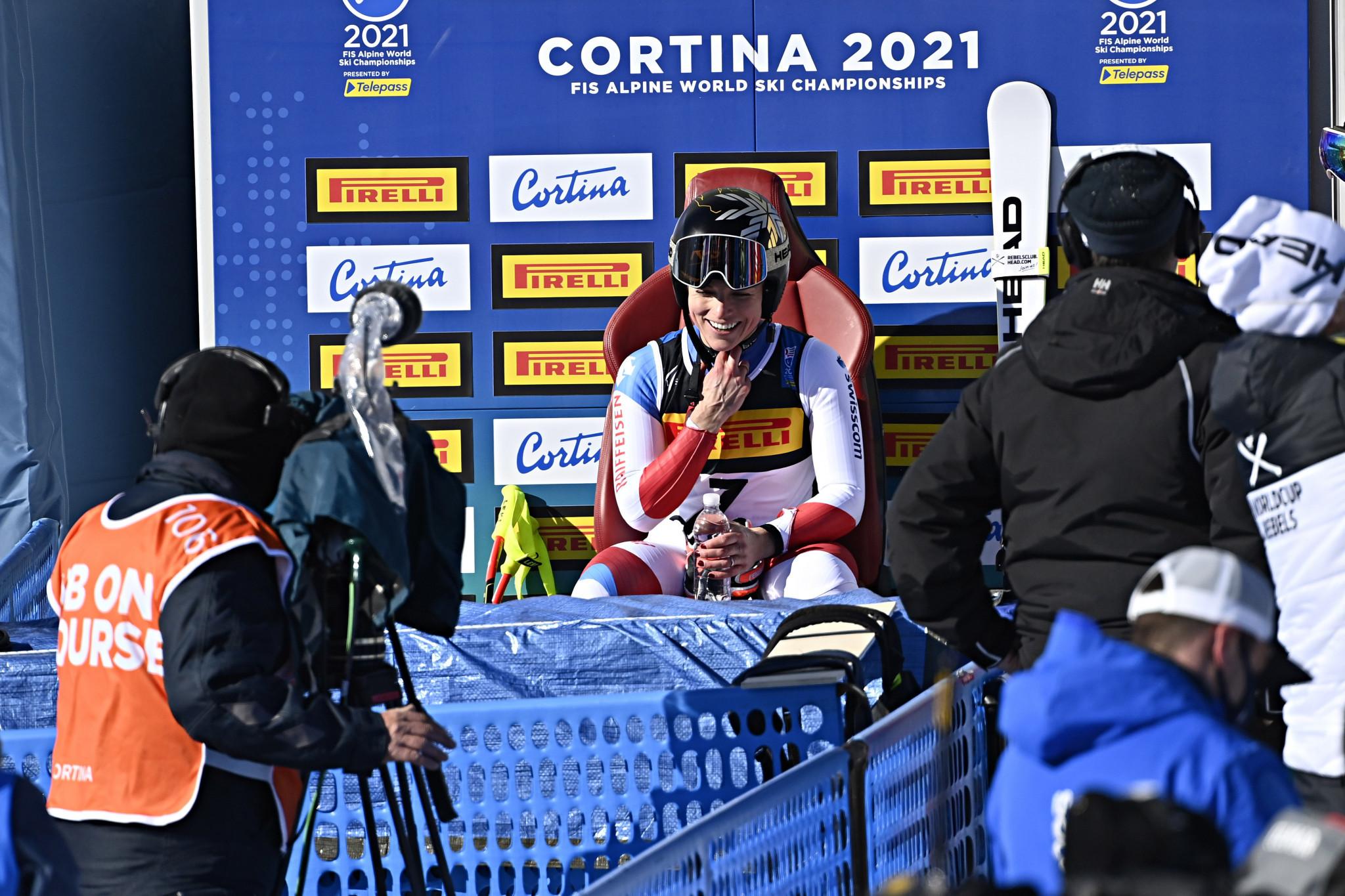 Lara Gut-Behrami celebrated her maiden world title ©Getty Images