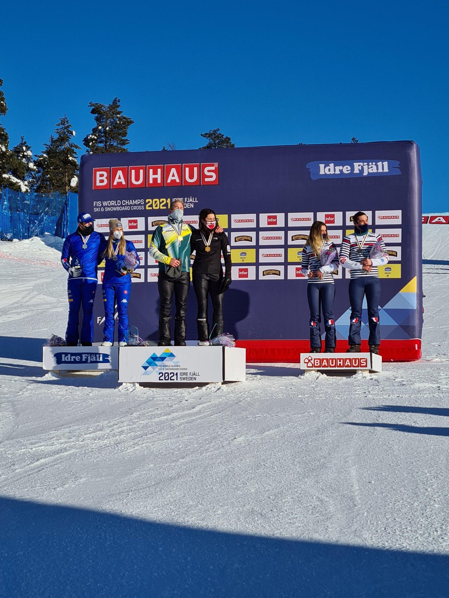 Australians Brockhoff and Hughes claim snowboard cross team world title