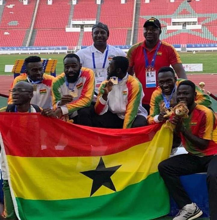 Ghana's 4x100 metres relay team won one of the country's two gold medals at the 2019 African Games in Rabat ©GOC