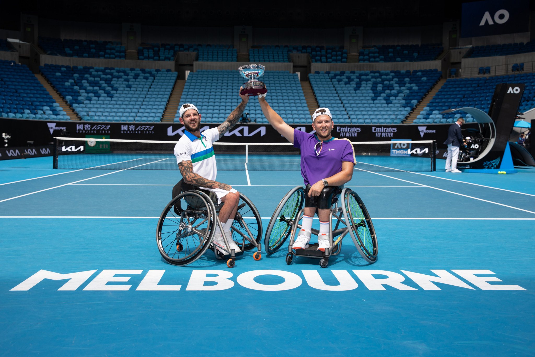 Australia's Dylan Alcott and Heath Davidson are the Australian Open quad doubles champions for the fourth year in a row ©Getty Images