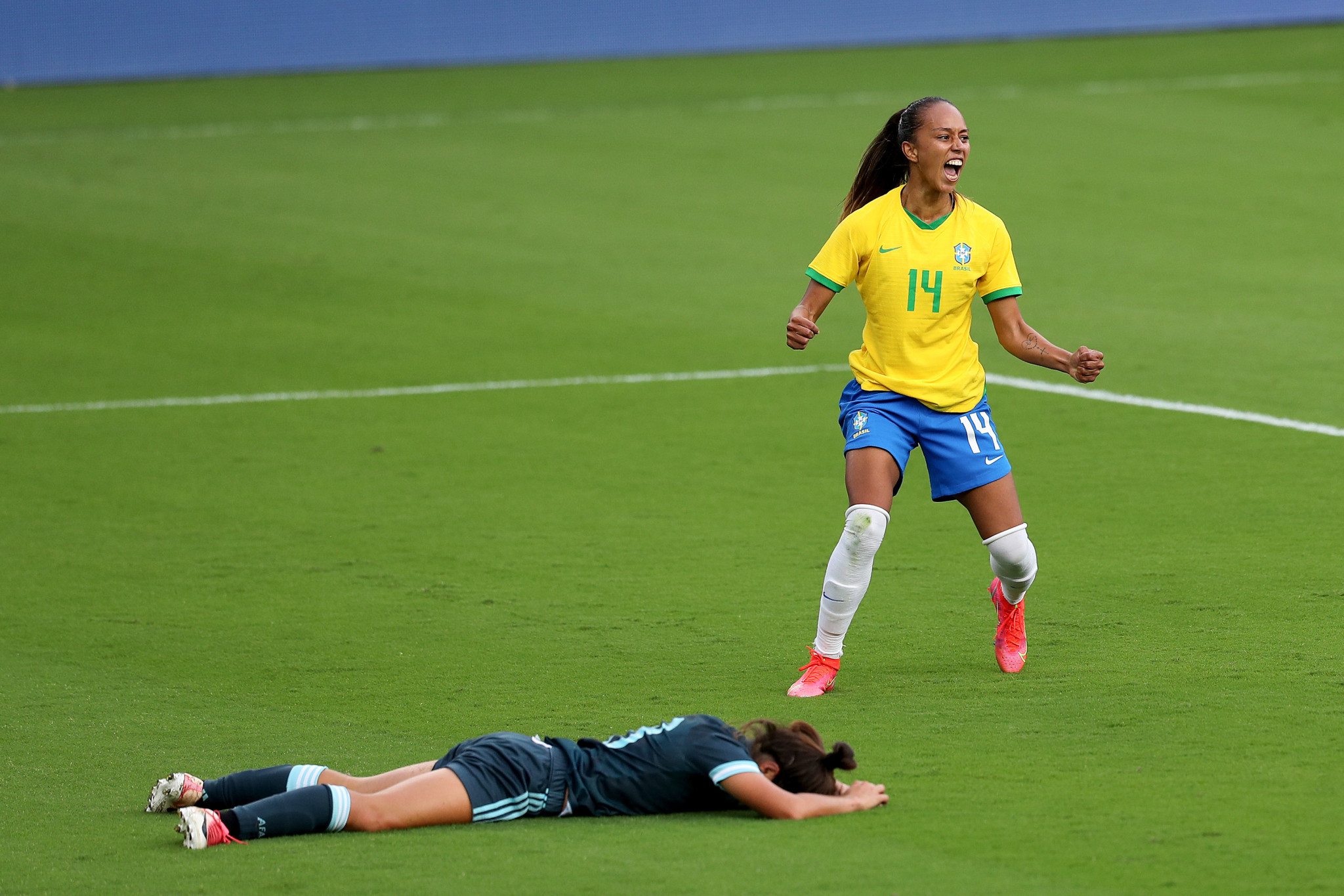Adriana won a penalty and scored her first Brazil goal in an impressive performance ©Getty Images